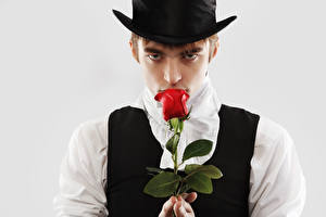 Wallpaper Man Roses Gray background Glance Hat