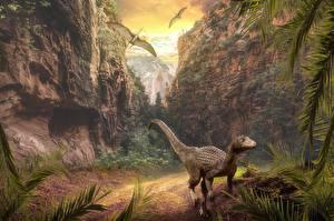 Photo Mountains Dinosaurs Crag Animals