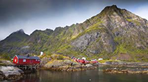 Fotos Norwegen Lofoten Gebirge Haus Bucht
