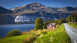 Hintergrundbilder Norwegen Gebirge Flusse Wege Haus Ullsfjorden Natur