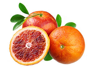 Wallpapers Orange fruit Closeup White background Three 3 Food