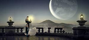 Wallpaper Planet Mage wizard Lamp Night Fantasy 3D_Graphics Girls