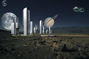 Bureaubladachtergronden Planeet Planeet oppervlak Wolkenkrabber Stenen Ruimteschip Fantasy