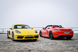 Wallpapers Porsche Two Metallic Porsche 718 auto