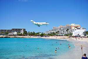 Picture Resorts Building Coast Airplane Beach Flight
