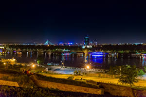 壁纸、、川、桟橋、セルビア、街灯、夜、Belgrade、都市