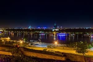 Photo Rivers Marinas Belgrade Serbia Street lights Night