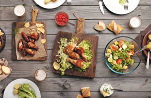 Pictures Roast Chicken Salads Vegetables Bread Wood planks Cutting board Ketchup Food