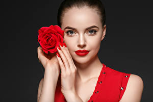 Wallpaper Roses Black background Face Red lips Hands Manicure Girls