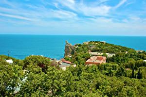 Fotos Russland Krim Meer Küste Gebäude Bäume Yalta