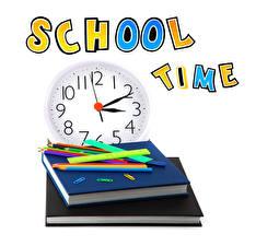 Bilder Schule Uhr Weißer hintergrund Buch Bleistift Englisch
