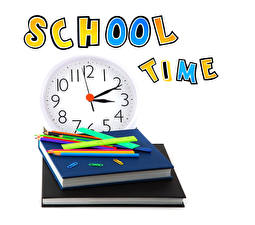 Pictures School Clock White background Book Pencils English