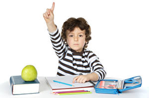 Image School Fingers Apples White background Boys Books Pencil Children