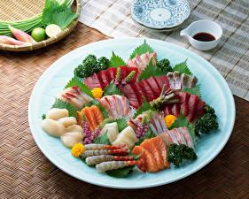 Fotos Meeresfrüchte Fische - Lebensmittel Gemüse Teller