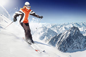 Pictures Skiing Winter Mountains Uniform Motion Girls Sport