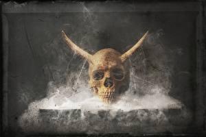 Bilder Schädel Rauch Horn