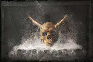 Bureaubladachtergronden Schedels Rook Hoorns Fantasy