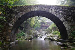 Fotos Südkorea Tempel Park Brücken Steine Bach Bogen architektur Gangwon-do