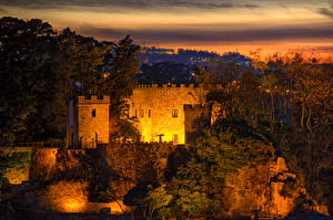 Hintergrundbilder Spanien Burg Abend Felsen Porto de Santa Cruz Galicia Städte