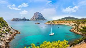 Fotos Spanien Insel Yacht Küste Bucht Ibiza, Balearic archipelago, Mediterranean sea Natur