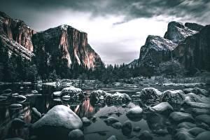 Bilder Steine Flusse Berg USA Landschaftsfotografie Yosemite Kalifornien Schnee Felsen