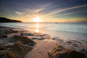 Bilder Sonnenaufgänge und Sonnenuntergänge Küste Steine Horizont