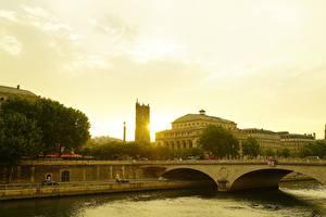 Photo Sunrises and sunsets France Houses Rivers Bridges Paris river Seine Cities