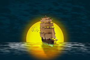 Bilder Sonnenaufgänge und Sonnenuntergänge Schiffe Segeln Sonne 3D-Grafik