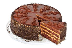 Fotos Süßware Torte Schokolade Weißer hintergrund