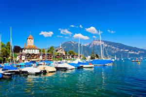 Fonds d'écran Suisse Montagnes Bâtiment Lac Estacade Thunersee Thun Villes