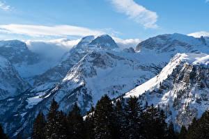 Fonds d'écran Suisse Montagnes Hiver Neige Braunwald Nature