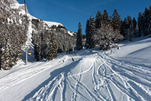 Fonds d'écran Suisse Hiver Forêts Neige Braunwald Nature