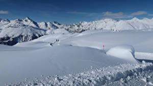 Fonds d'écran Suisse Hiver Montagnes Neige Alpes Pontresina Nature
