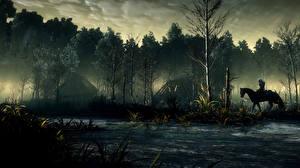 Hintergrundbilder The Witcher 3: Wild Hunt Wald Pferde Bäume Nebel computerspiel