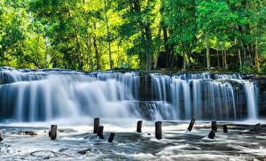 Hintergrundbilder Tropen Park Wasserfall Bäume Kulen National Park Cambodia