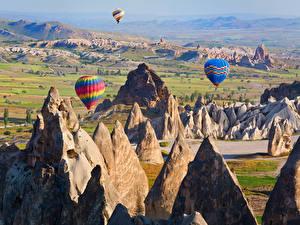 Bakgrunnsbilder Tyrkia Parker Klippe Luftballong Cappadocia Natur