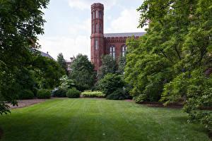 Hintergrundbilder Vereinigte Staaten Burg Park Rasen Strauch Smithsonian Castle Gardens Natur