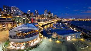 Hintergrundbilder USA Seattle Schiffsanleger Haus Nacht