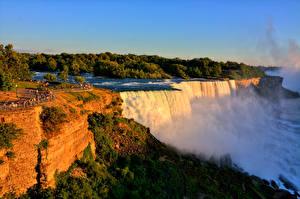 Bilder Vereinigte Staaten Wasserfall New York City Felsen Niagara Falls Natur