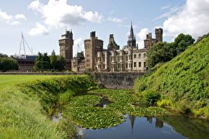壁纸、、イギリス、城、池、Cardiff Castle、都市
