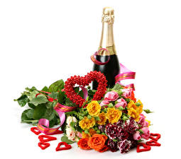 Bilder Valentinstag Sträuße Rosen Schaumwein Weißer hintergrund Flasche Herz Blumen