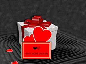 Pictures Valentine's Day Present Bow Heart English 3D Graphics