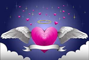 Hintergrundbilder Valentinstag Herz Flügel 3D-Grafik