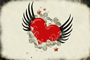Papéis de parede Dia dos Namorados Coração Asa Estrela da decoração
