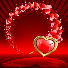 Papéis de parede Dia dos Namorados Coração Flecha De Madeira Vermelho
