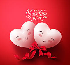 Pictures Valentine's Day Red background English Heart Two Bowknot