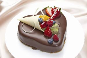 Bilder Valentinstag Süßware Torte Schokolade Beere Herz