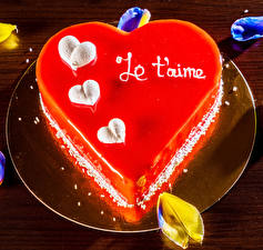 Pictures Valentine's Day Confectionery Torte Plate Heart Food
