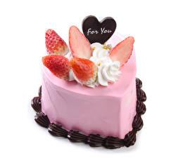 Bilder Valentinstag Süßigkeiten Torte Erdbeeren Schokolade Englischer Herz das Essen