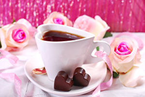 Wallpapers Valentine's Day Tea Chocolate Roses Cup Heart Food